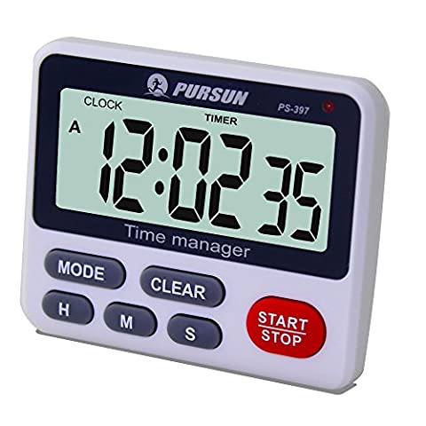 Samshow Digital Kitchen Cooking Timer Clock,Simultaneous Timing Countdown Up Pocket Timer with alarm clock, Large Led Display, Memory, Stopwatch Function, Magnetic Back (Battery included) (One (Kitchen Digital Clock)
