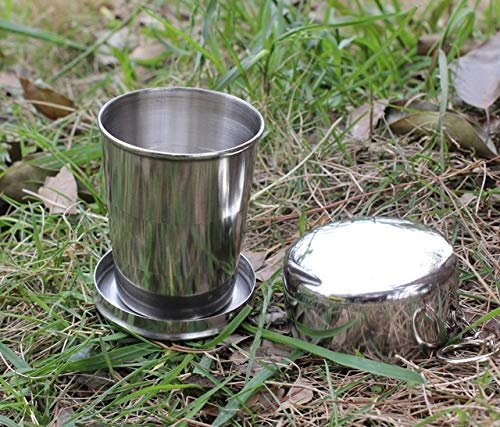 BeesClover Wholesale 150ML Stainless Steel Portable Mini Travel Retractable Cup Keychain Folding Collapsible Cup Show by BeesClover (Image #3)