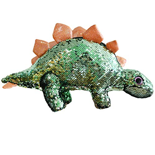 Athoinsu Flip Sequin Stuffed Dinosaur Plush Toy Sparkle Stegosaurus with Reversible Glitter Sequins Interactive Gifts for Kids Toddlers, Green, 16