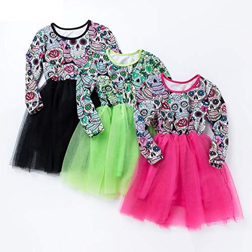 TZP Fashion Kids Girls Skull Patchwork O Neck Mesh Dress Halloween Princess Clothing ()