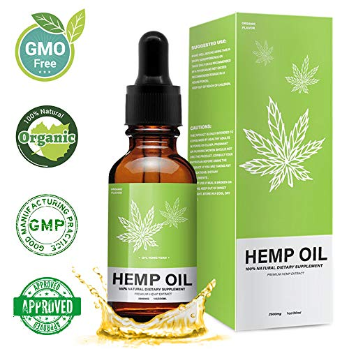 Hemp Oil for Pain Relief – Cold-Pressed 2500mg, Stress Support, Anti Anxiety, Sleep Supplements – Herbal Drops – Rich in MCT Fatty Acids – Natural Anti Inflammatory – 1 Fl Oz (30 ml)