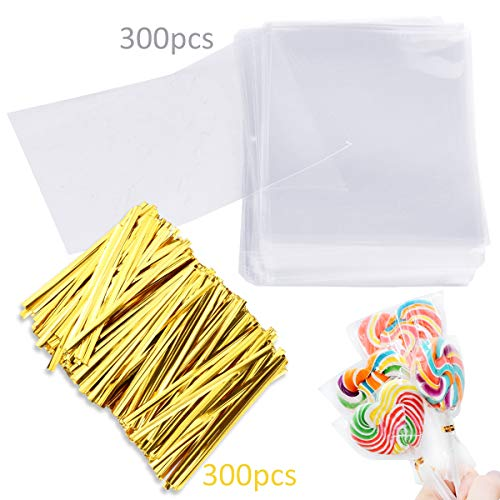 Augshy 300 Pcs Treat Bags Cello Bags 3x5
