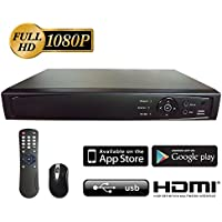 Surveillance Digital Video Recorder 4CH HD-TVI/CVI/AHD H264 Full-HD DVR 1TB HDD HDMI/VGA/BNC Video Output Cell Phone APPs for Home & Office Work @1080P/720P TVI&CVI, 1080P AHD, Standard Analog& IP Cam