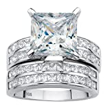 Platinum over Sterling Silver Princess Cut Multi Row Cubic Zirconia Wedding Ring Set Size 7
