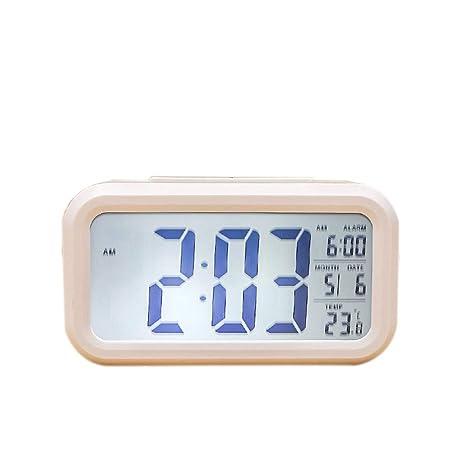 Busirde Alarma Reloj Inteligente de múltiples Funciones electrónico Estudiante Silencio LCD Luminoso Dormitorio Simple Digital Pequeño