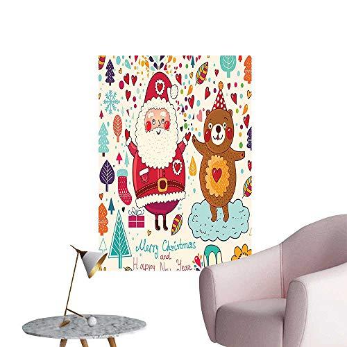 Vinyl Artwork Merry Santa and Teddy Bear Vintage Christmas Ornaments Party Kids Room Nursery Easy to Peel Easy to Stick,12