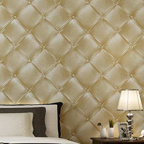 Blooming Wall 3D Faux Leather Backgound Texture Wall Pattern Wallpaper Roll for Livingroom Bedroom, 20.8 In32.8 Ft=57 Sq.ft (3236)