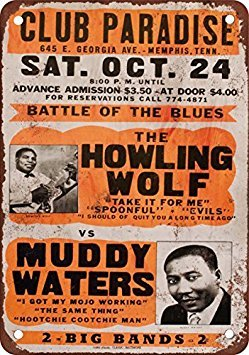 1970 Howling Wolf & Muddy Waters in Memphis Vintage Look Reproduction Metal Tin Sign 12X18 Inches by VEHFA