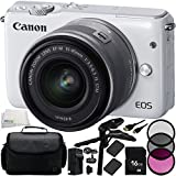 Canon EOS M10 Mirrorless Digital Camera with EF-M 15-45mm f/3.5-6.3 IS STM Lens (White) 10PC Accessory Kit - Includes 16GB Memory Card + MORE - International Version (No Warranty)