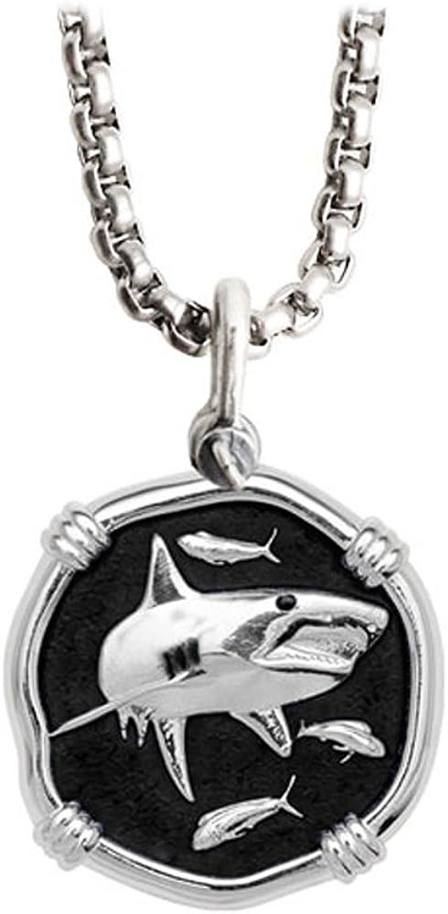 """Guy Harvey Shark Medallion Black Enamel in Sterling Silver on 22"""" Stainless Steel Box Chain"""