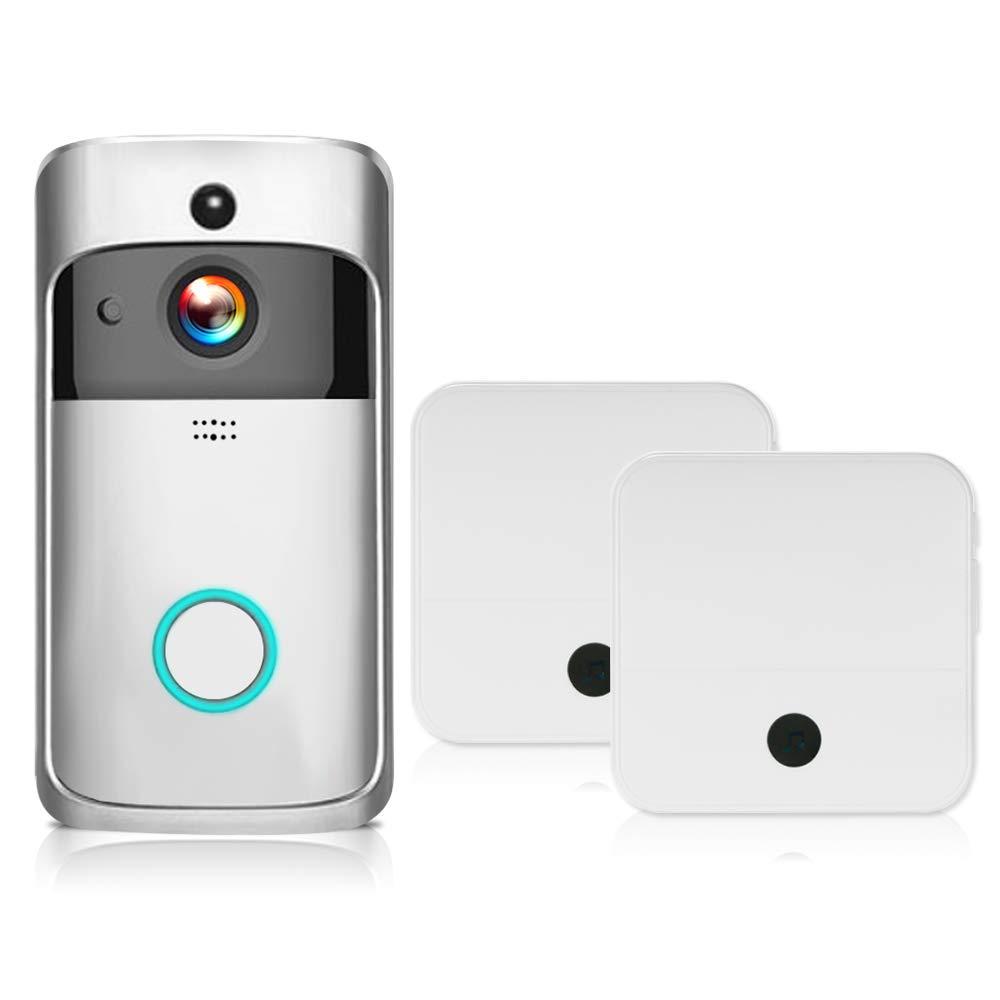 Festnight Interphone Vid/éo WiFi Sonnette Intelligente HD 1080P avec Sonnette Sans Fil