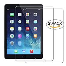 [2 Pack] New iPad 9.7 inch 2017 Screen Protector, AILRINNI Ultra-Clear Tempered Glass Screen Protector Cover Film for New iPad 2017 / Apple iPad Pro 9.7 / Air / iPad Air 2, 9H Hardness and Easy Bubble-Free Installation
