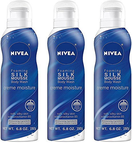 (Nivea Foaming Silk Mousse Body Wash - Creme Moisture - Soft, Silky Skin With Provitamin B5 - Net Wt. 6.8 OZ (192 g) Per Can - Pack of 3 Cans)