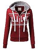 H2H Womens Love Logo Slim Fit Full Zip Up Long Sleeve Hoodie Cotton Jacket Burgundy L