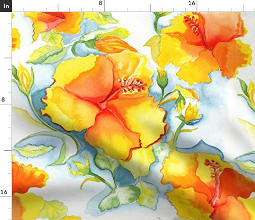 (Watercolor Fabric - Yellow Orange Hibiscus Tropical Floral Painted Summer Vibrant Energetic Colorful Print on Fabric by the Yard - Petal Signature Cotton for Sewing Quilting Apparel Crafts Decor)