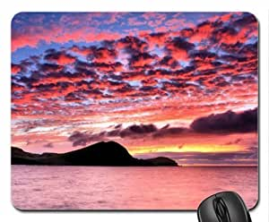 Mountain Silhouette and Sunset Clouds Mouse Pad, Mousepad (Sunsets Mouse Pad)