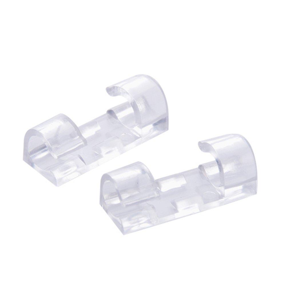 HuaYang 20/pcs Autocollant de filetage fil fixe Clip Organiseur de c/âble de gestion de cordon Boucle Pince de maintien transparent