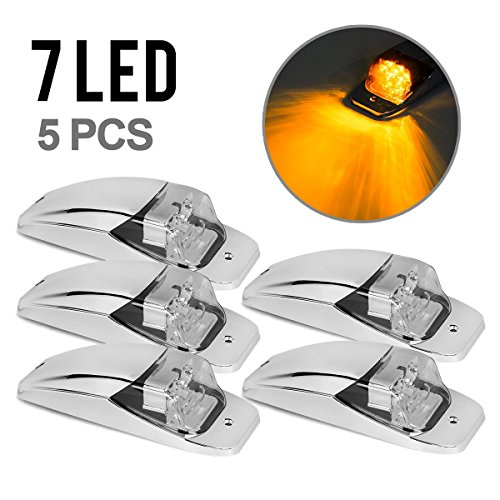 5xM27011Y Amber/Yellow 7LED Chrome Upper Cab Marker Lights Clear Lens for Truck Trailer Peterbilt Kenworth Freightliner