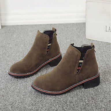 For Fall UK3 Cashmere Fashion Black Heel 5 Gray Shoes RTRY US5 Camel Toe Chunky 5 Round Casual Boots Women'S EU36 CN35 Boots SwtnP
