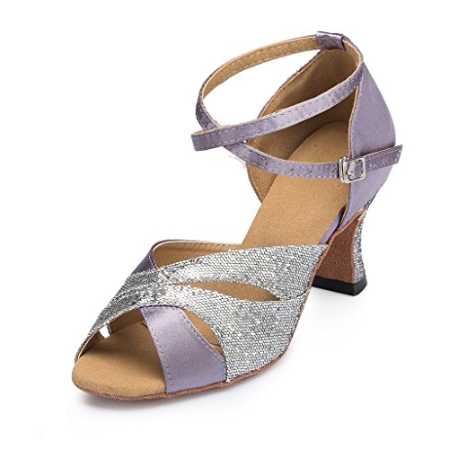Women's 10 Glitter Heel Cha Chunky US Shoes Dance High Miyoopark Cha Satin Purple M SYPdxSnF