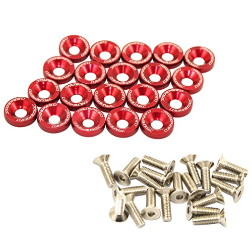 JDMSPEED 20 Pcs Red CNC Billet Aluminum Fender Washer Engine Bay Dress Up Kit (Engine Bolts Up Dress)