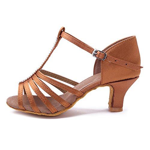 Baile salón ES227 de Mujeres Latinos 5cm Marrón Zapatos Profesionales de HIPPOSEUS Modelo xqaYIwHRa