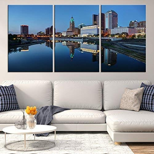 (Columbus Ohio Skyline Wall Art by Sami Eymur | X-Large 3 Piece Framed Multi Panel Print | High Resolution Colorful Photo of City for Home Décor | Ready to Hang, 3 Extra Large Sizes)