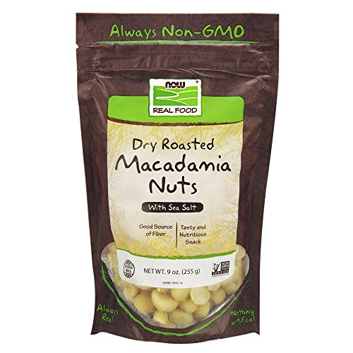 (NOW Foods, Macadamia Nuts, Dry Roasted with Sea Salt, Source of Fiber, Gluten-Free and Certified Non-GMO, 9-Ounce)