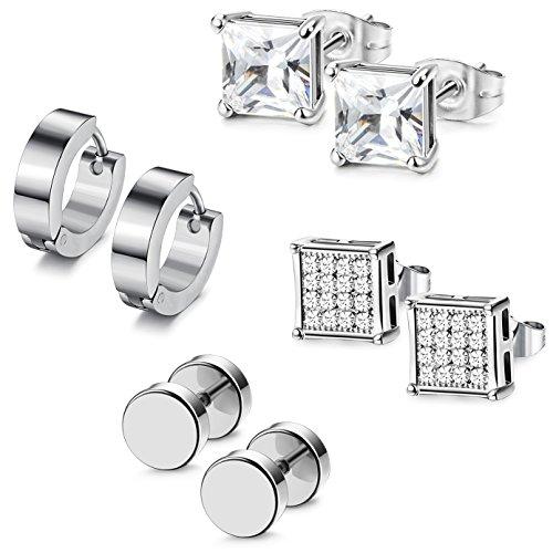 - Udalyn 4 Pairs Stainless Steel Earrings Set Hoop Earrings CZ Stud Earrings Barbell Earrings For Men Silver-tone