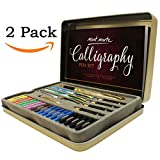 Calligraphy Pens Set by Mont Marte, Best Calligraphy Set for Beginners&Kids-33Pieces-2Pack, Includes Calligraphy Pens, Calligraphy Nibs, Ink Cartridges, and Exercise Workbook.