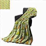 Anyangeight Cat Custom Design Cozy Flannel Blanket Cute Cartoon Cats Practicing Yoga on Green Backdrop Meditation Healthy Living,Super Soft and Comfortable,Suitable for Sofas,Chairs,beds