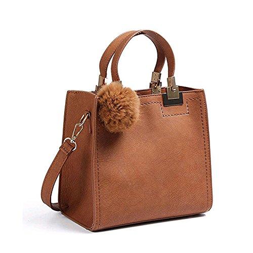 Besthome FashionWomen PU Leather Pendant Top Handle Bag Tote Shoulder Bags Handbags Purse Small Crossbody Bag, Brown, 24cm15cm23cm