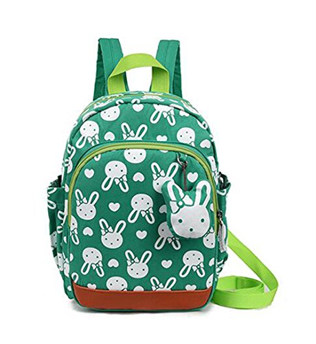 LiMeiW Kids Cartoon Bags Walking Safety Harnes Toddler Leash Anti-Lost bagpack with Bear Pendant (Green)