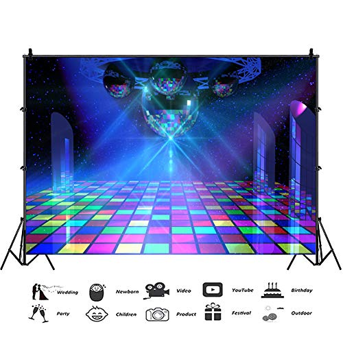 Baocicco 12x10ft Disco Party Backdrop Disco Interior Scene Dance Hall Floor Lights Photography Background Entertainment Venues KTV Ballroom Dance Party Theme Birthday Party Girls Portrait