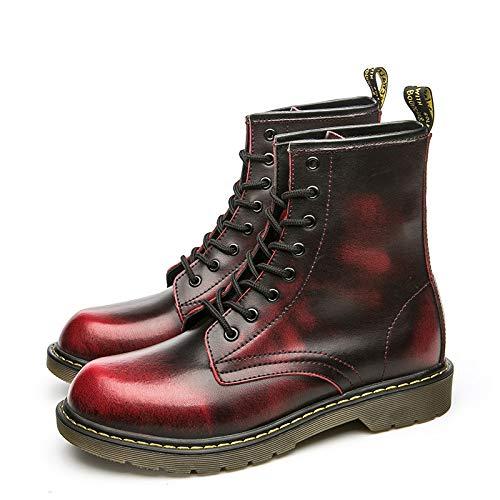 Rouge Wine LOVDRAM Chaussures en Cuir pour Hommes Bottes Martin Classiques pour Hommes Bottes Militaires Bottes à La Mode en Tube De Grande Taille Chaussures à L'Unité