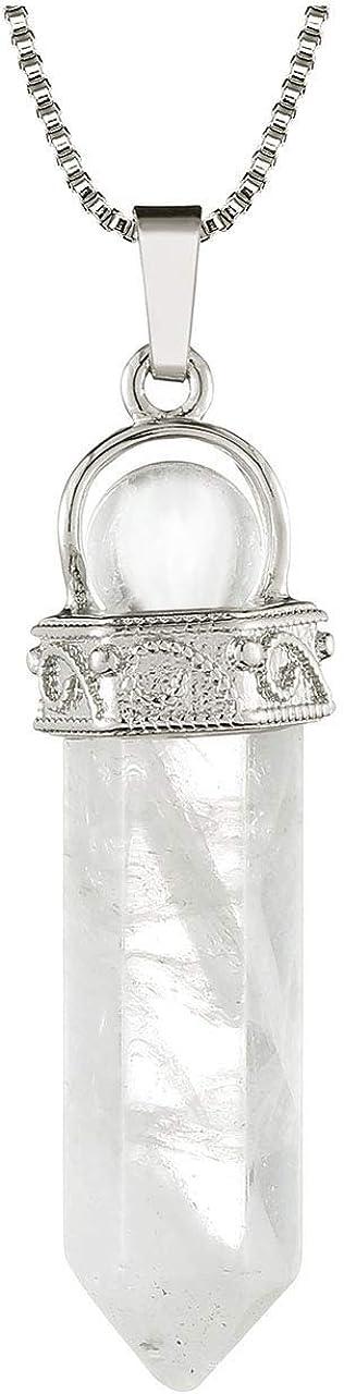 Jovivi piedras preciosas joyas cristal de roca hexágono colgante con bola de piedra colgante collar terapia energética Reiki Yoga cadena