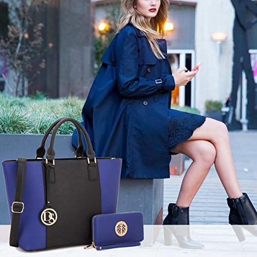 Girls Mom 6417 Navy Satchel Designer Purse Lightweight Multi Tote Medium Summer Women Lady for Teen Blue Flower Gift Pockets Handbag aOWqg7TS