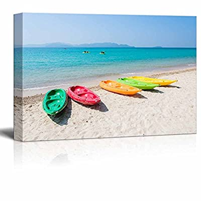 Canvas Prints Wall Art - Colorful Kayak/Boat on Tropical Beach of Thailand | Modern Home Deoration/Wall Art Giclee Printing Wrapped Canvas Art Ready to Hang - 16