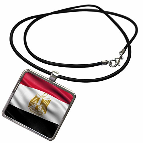 3dRose Carsten Reisinger - Illustrations - Flag of Egypt Waving in The Wind - Necklace with Rectangle Pendant (ncl_239767_1)