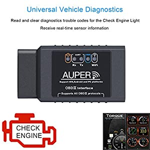 AUPER OBD2 Scanner, Upgraded Chip OBDII Scanner Check Engine Light Obd II iPhone Wifi Wireless Obd Scanner Supports ALL 1996+ Cars Reliable Obd Reader for iOS, Android & Windows