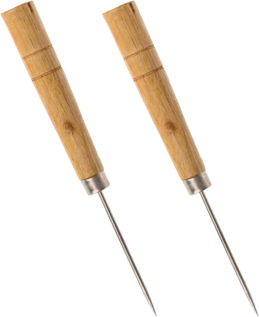 Craft Wooden Awl Leather Hole Working Awl Tool Straight Awl Sewing Tool Pack of 2
