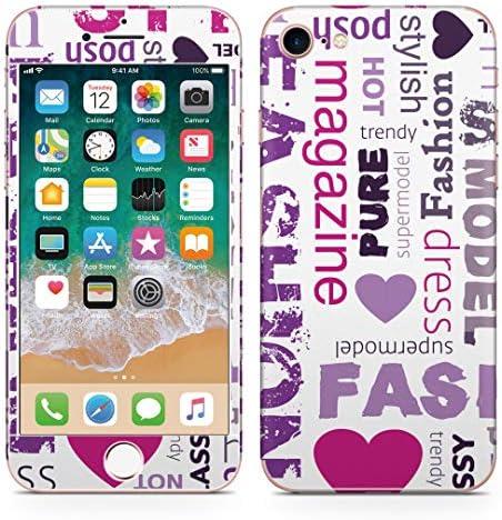 igsticker iPhone SE 2020 iPhone8 iPhone7 専用 スキンシール 全面スキンシール フル 背面 側面 正面 液晶 ステッカー 保護シール 004139 ラグジュアリー クール 英語 文字 紫