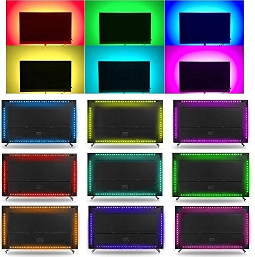 LED TV Backlight Kit, Topled Light® 4x1.64ft Bias Lighting RGB Color Changing with 44Keys Remote + Power Adapter LED Strip Backlight Kit for HDTV Flat Screen LCD, Desktop PC(Backlight Kit)) by Topled Light (Image #7)