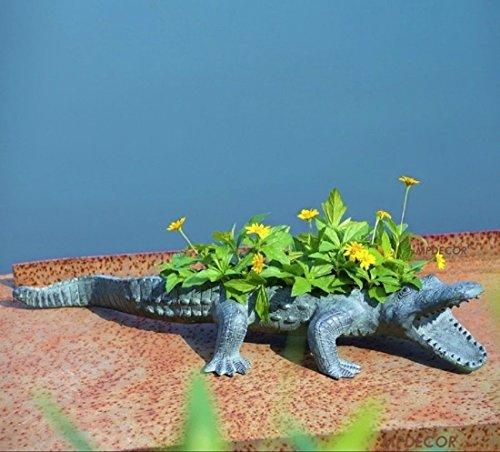 Alligator Planter Outdoor Garden Florida Crocodile Patio Flower Pot Coastal  29u0027u0027 L ✅ By