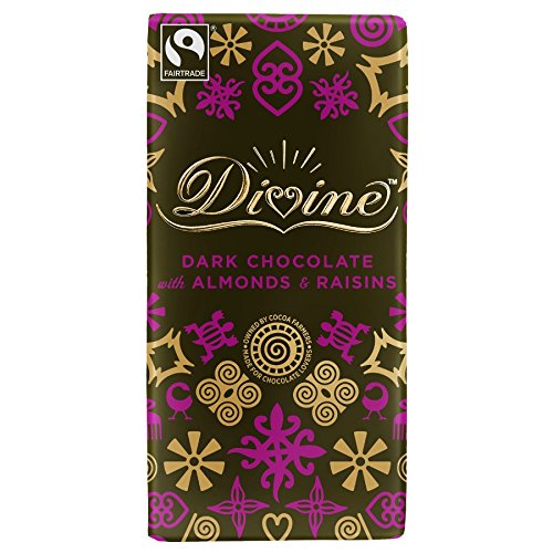 Divine Chocolate Bar, Dark Chocolate with Almonds and Raisins, 3.5 Ounce (Pack of 10) ()