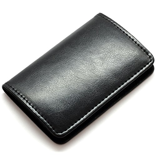 - Partstock Premium Stainless Steel & Smooth PU Leather Business Name Card Holder Credit Card Case/ID Case with Magnetic Shut. Perfect Gift - Black