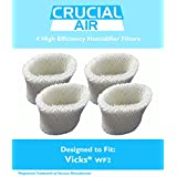 4 Vicks WF2 Humidifier Filters; Fits Vicks V3500N, V3100, V3900 Series, V3700, Sunbeam 1118 Series & Honeywell HCM-350 Series; Compare to Model # WF2; Designed & Engineered by Crucial Air