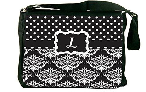 Rikki Knight Initiale L schwarz & weiß Damast Punkte Design, Messenger Schultasche (mbcp-cond44466)