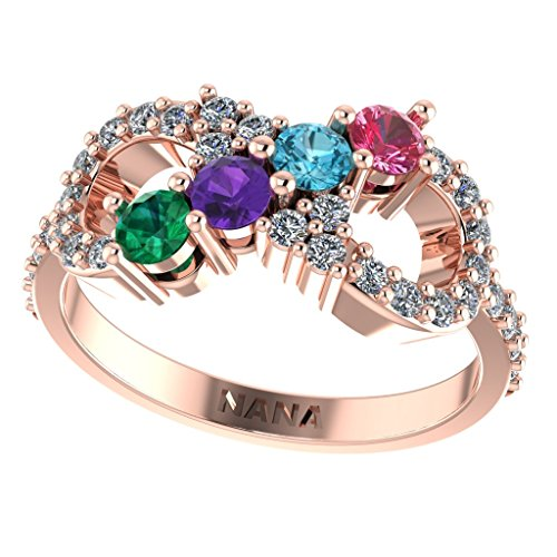 Ring 3 10k Stone - NANA Infinity Mothers Ring with 1 to 6 Simulated Birthstones - 10k Rose - Size 7