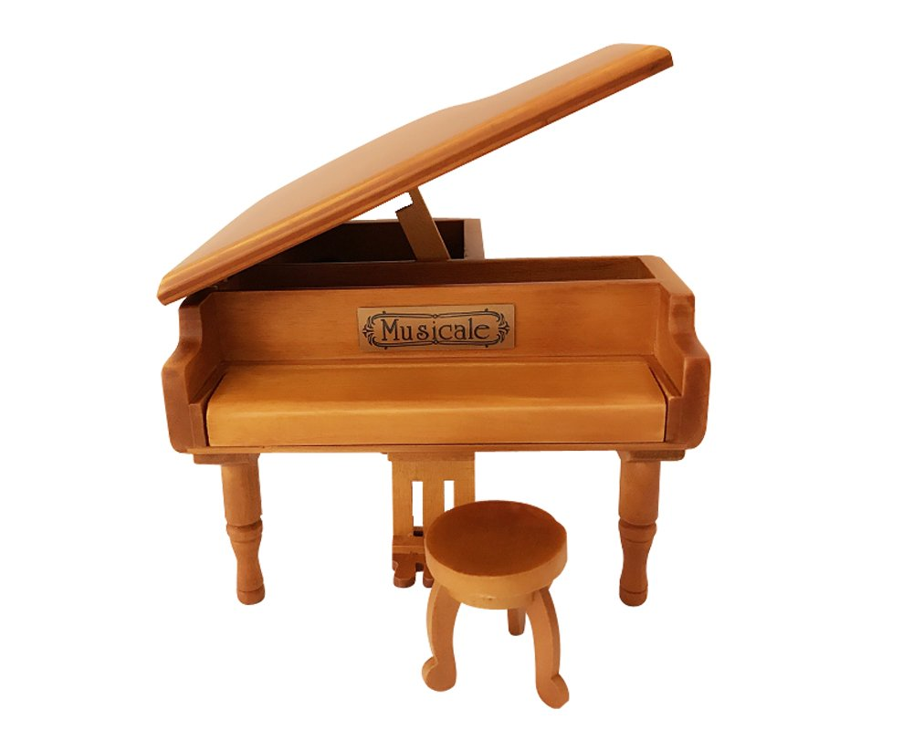 Wooden Piano Music Box Style 18 Tones Grand Gifts for Birthday Classical Nice Music Box (Wood)